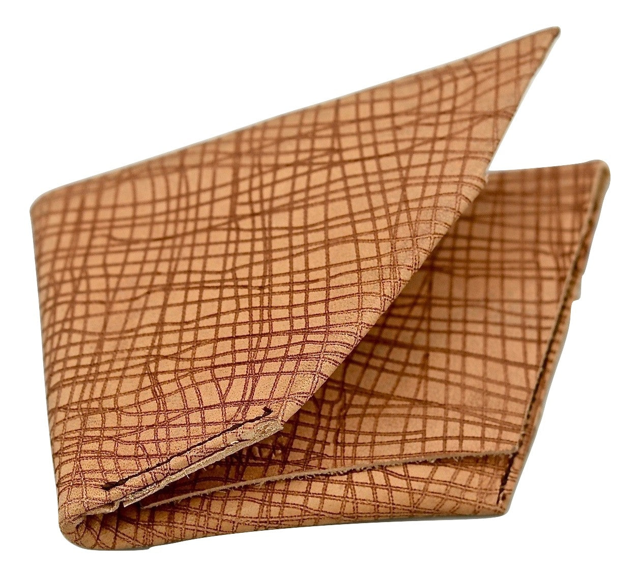 Wallet  |  Rhomboid tan cross hatch