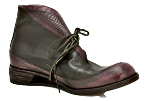 Sneaker boot  |  Foldover black and plum calf