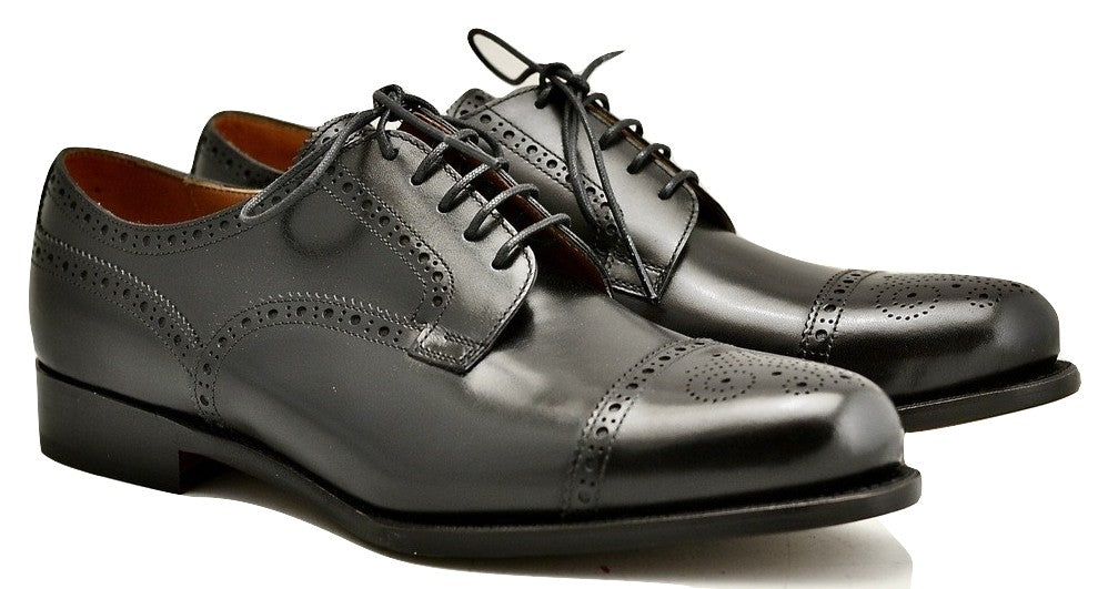 Toe cap derby brogue  | Black box calf