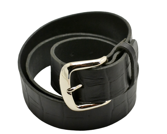 Belt | unstitched black croc print