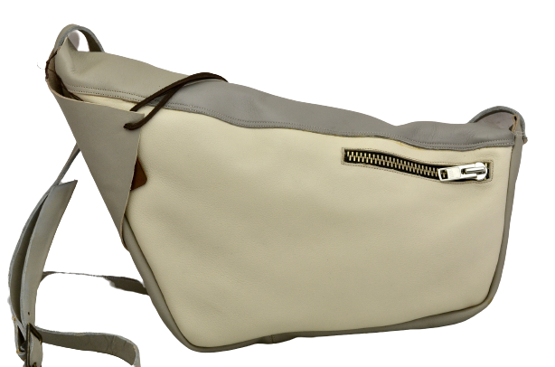 Rhomboid shoulder Clutch | grey cream dust calf