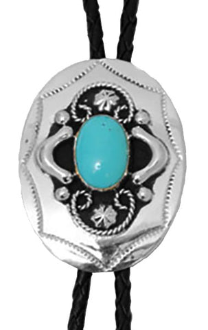 Bolo Tie - German Silver Bolo with Turquoise Stone