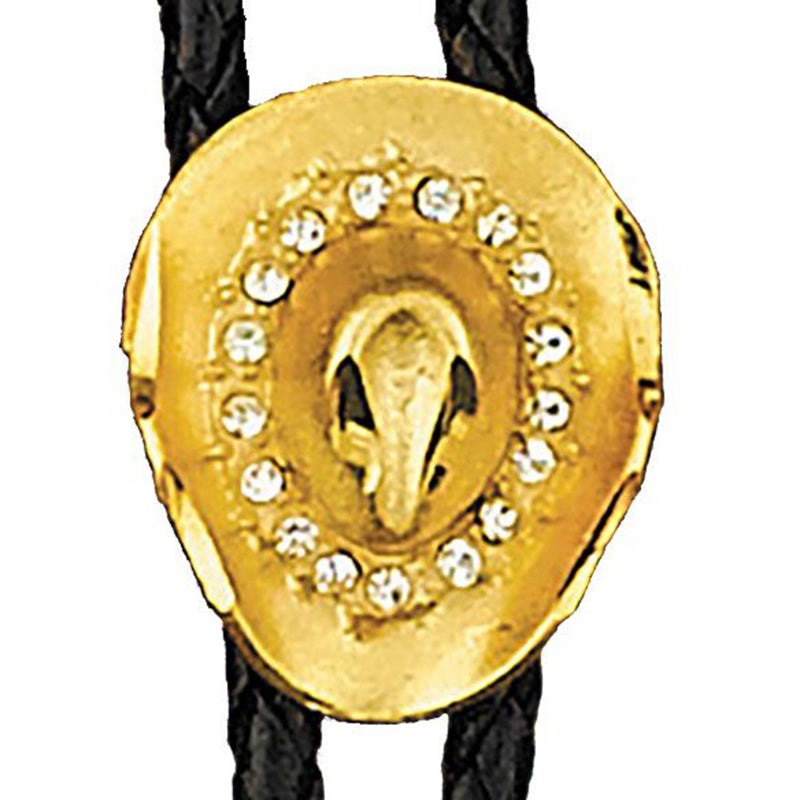 Bolo Tie - Gold Hat with Austrian Crytals Made in the USA