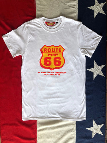 Route 66 Shield Logo T-Shirt - White/Colour