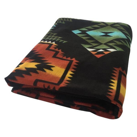Native Pattern Fleece Western Blanket - Charcoal