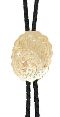Bolo Tie - Gold Plated Engraved - Made in Mex