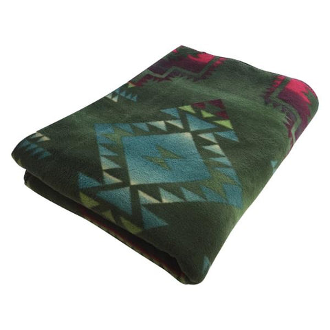 Native Pattern Fleece Western Blanket - Green