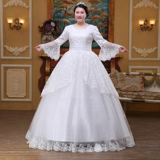 83b8535d810 Plus Size Bell Sleeve Wedding Gown – YoBeBee