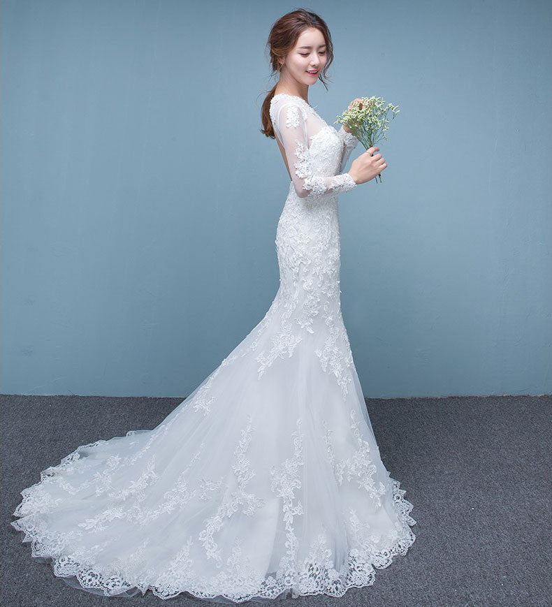 Mermaid Style Wedding Dress.Long Sleeve Mermaid Style Wedding Dress