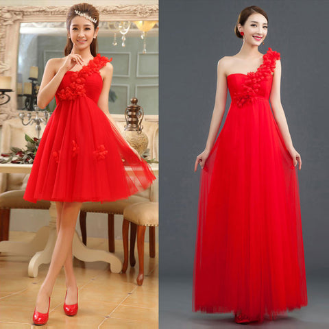 One Shoulder Red Prom Dress