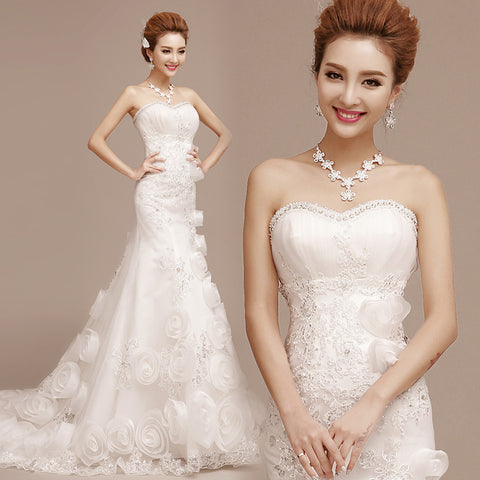 3D Roses Beaded Lace Wedding Dress