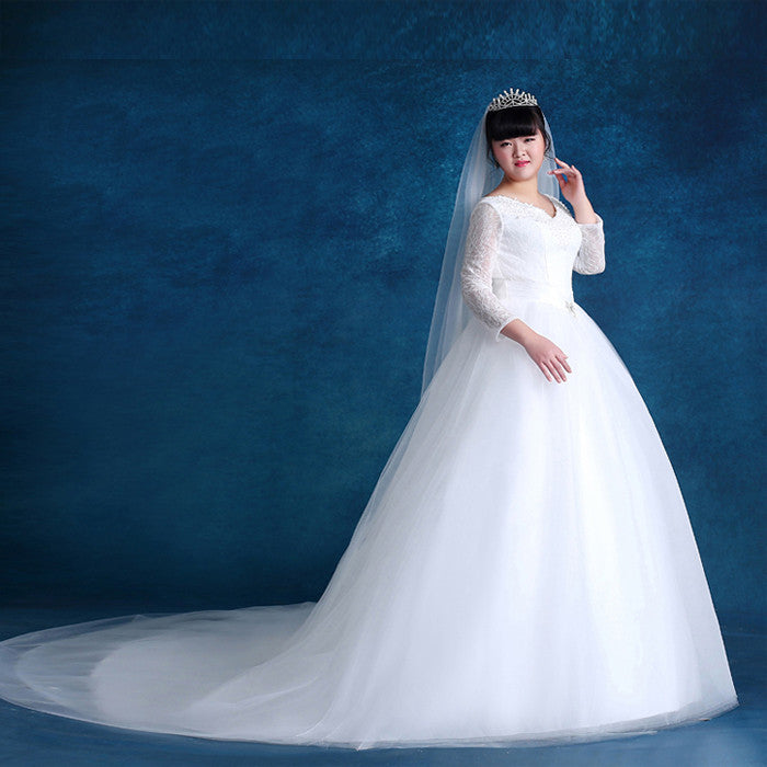 fe53e6aa2b5 Plus Size Long Sleeve Wedding Dress – YoBeBee