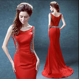 Red Prom Dress with Jeweled Sides