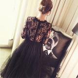Long Sleeve Lace Tulle Long Dress
