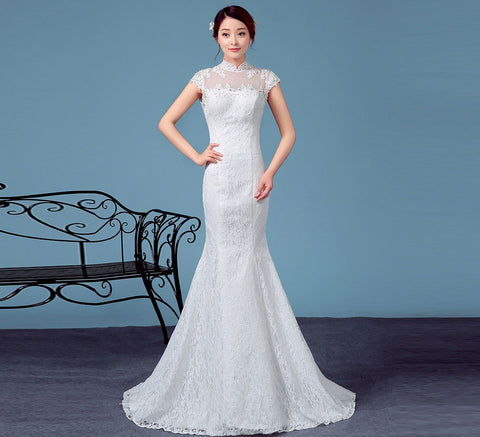 High Neck Mermaid Wedding Dress
