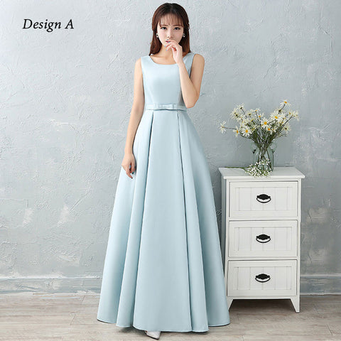 Satin Long Dress with a Bow