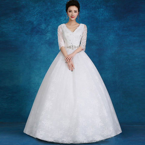 Half Sleeve A-Line Wedding Gown