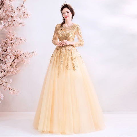 Long Sleeve Gold Embroidery Evening Dress