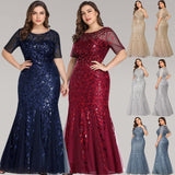 Plus Size Short Sleeve Sequin Mermaid Gown