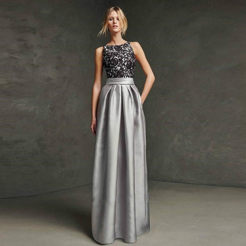 Silver Black Open-Back Evening Gown