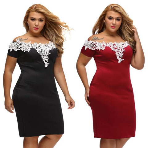 Plus Size Short Dress with Lace Shoulder Details