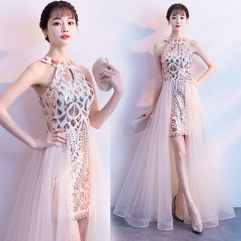 45c7005eb12be High Neck Prom Dress with A-Line Skirt