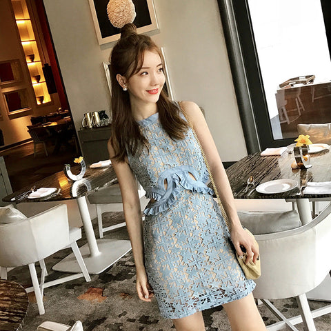 All Over Lace Short Dress with Cut-Outs