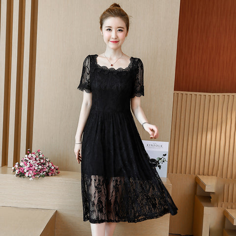 Plus Size Lace Dress in Black