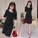Half Sleeves Round Neckline Short Dress