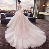 Long Sleeve Open Back Bridal Gown