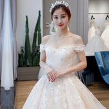 Off Shoulder Wedding Dress with Long Train