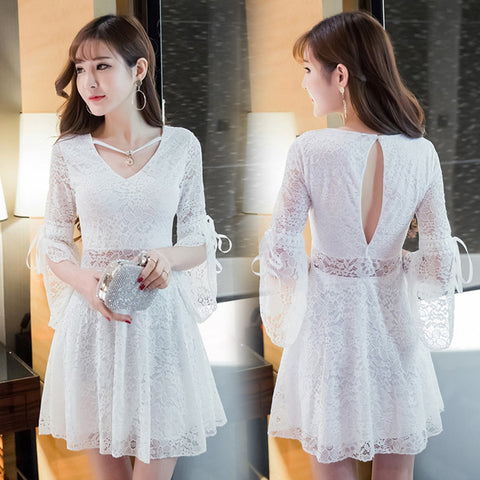Bell Sleeve Lace Party Dress