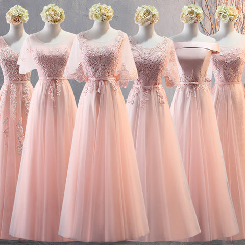 Light Pink Bridesmaid Tulle and Lace Long Dress