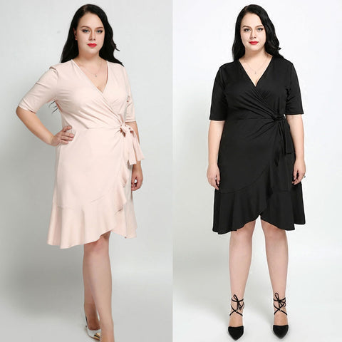 Plus Size Asymmetrical Hem Short Dress