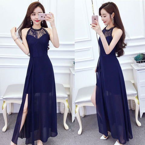 High Neck Long Dress with Slit