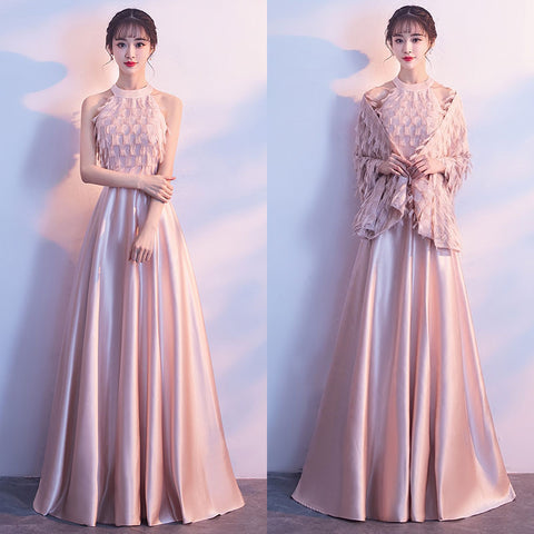 Pink High Neck Prom Dress with Shawl