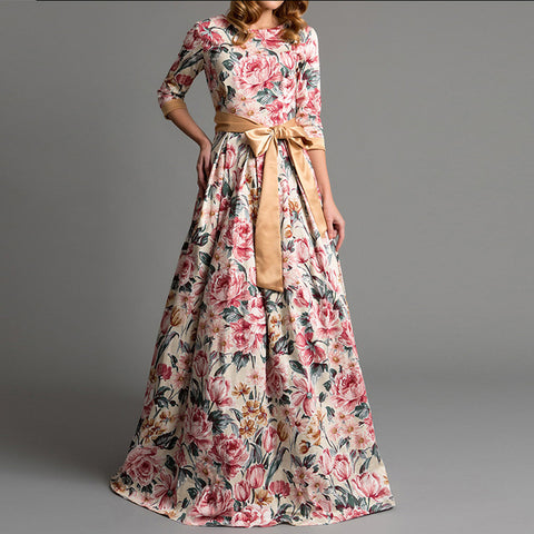 Floral-Print Long dress with a Bow