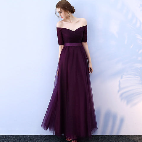 36b332ab86d Purple Off Shoulder Evening Dress