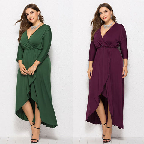 Plus Size Long Sleeve V Neckline Dress