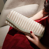 Pleated Dinner Clutch With Glittering Stones