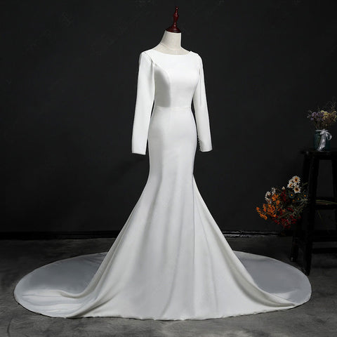 Long Sleeve Open Back Wedding Gown