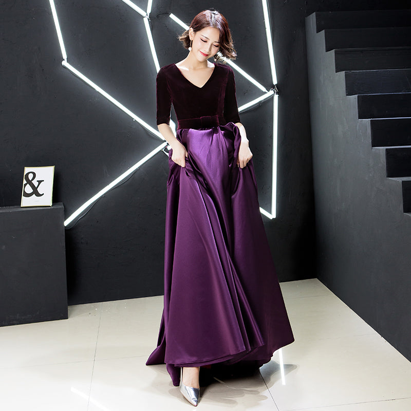 786ec5ea678 Purple Velvet Satin Evening Gown – YoBeBee