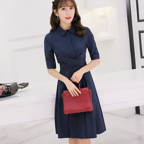 Navy Blue Short Dress with Sleeves