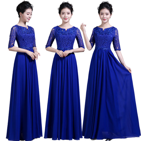 a4ec7311d7e Blue Lace Top Chiffon Evening Dress