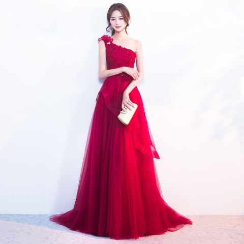 Red Banquet One Shoulder Evening Dress