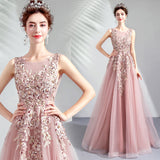 Pink Embroidery Sleeveless Evening Gown