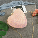 Glitter Heart Shape Clutch
