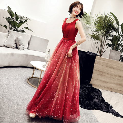 c42ff431dcd Sleeveless Red Evening Gown With Stars