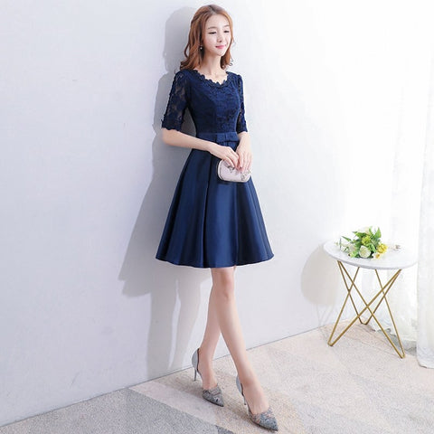 Navy Blue Lace Satin Short Dress