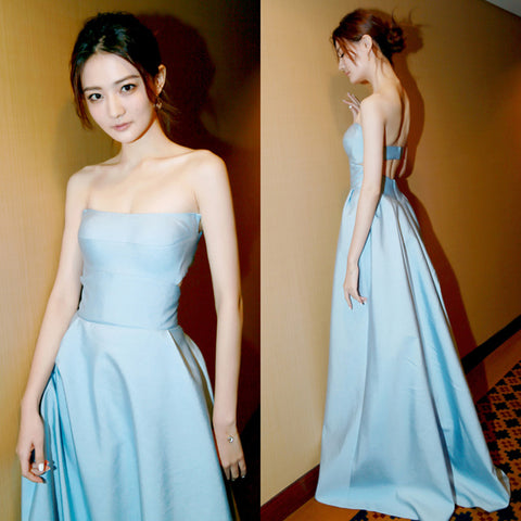 Strapless Light Blue Evening Dress with Cut-Out Back
